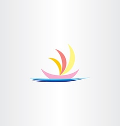 Boat in sea logo icon sign vector