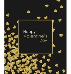 Happy valentines day gold background golden heart vector