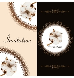 Two invitation card with blossom cotton vector