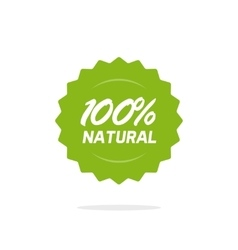 Natural 100 percent green label isolated on vector