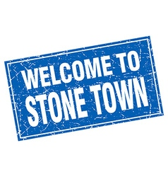 Stone town blue square grunge welcome to stamp vector