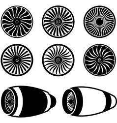 Airplane jet engine turbines vector image vector image