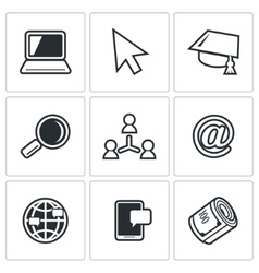 Computer literacy icons set vector image