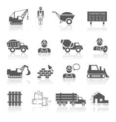 Construction pictograms collection vector