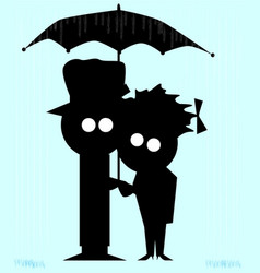 couple in the rain vector image vector image