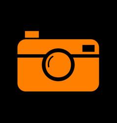 Digital photo camera sign orange icon on black vector
