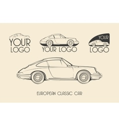 European classic sports car silhouettes logo vector