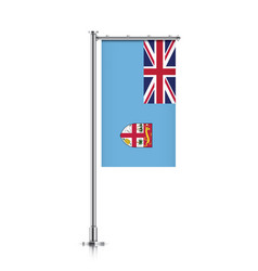 Flag of fiji hanging on a pole vector