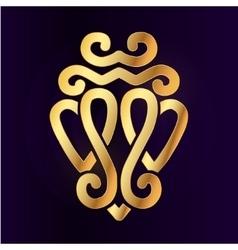 Gold luckenbooth brooch design element vector