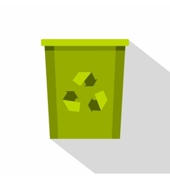 Green bin with recycle symbol icon flat style vector