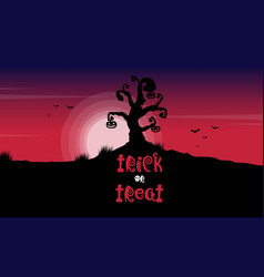 halloween tree on red moon background vector image vector image