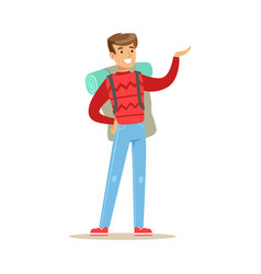 Happy young man traveling with backpack colorful vector