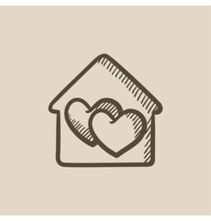 House with hearts sketch icon vector image