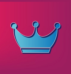 King crown sign blue 3d printed icon on vector