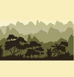 Landscape jungle on mountain background silhouette vector
