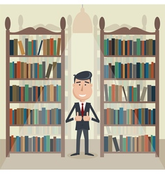 Man in library vector image