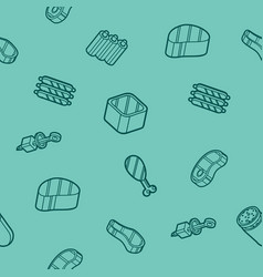 Meat color outline isometric pattern vector