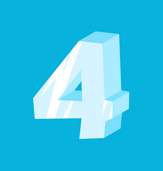 number 4 ice icicles font four frozen alphabet vector image vector image