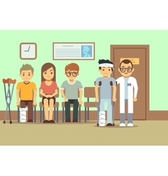 Patients in doctors waiting room at the hospital vector image