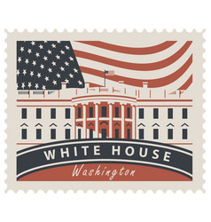 Postage stamp with white house and flag usa vector