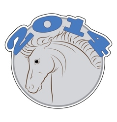 round sign with a picture of a horse vector image