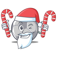 Santa with candy football character cartoon style vector