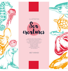 Sea creatures - color drawn vintage banner vector
