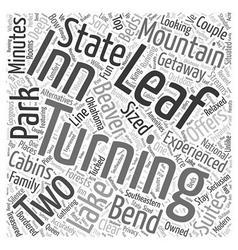 The turning leaf inn word cloud concept vector