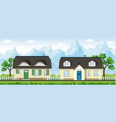 two classical country houses in the mountains vector image vector image