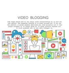 Video blogger flat line concept computer screen vector