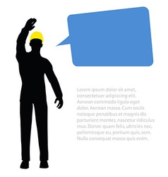 worker silhouette with yellow protective headgear vector image vector image