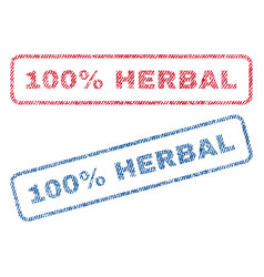 100 percent herbal textile stamps vector