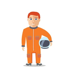 Cartoon character spaceman with cpace suit vector