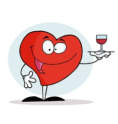 Smiling Red Heart Serving A Glass Of Red Wine vector image