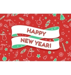 Trendy ribbon and text happy new year vector
