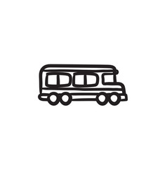 School bus sketch icon vector