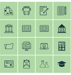 Set of 16 school icons includes transport vehicle vector