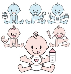 Cute baby boys and girls set vector