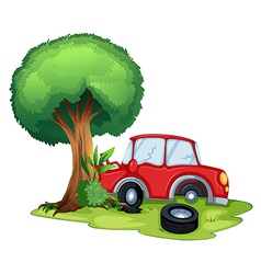 A red car bumping on a tree vector