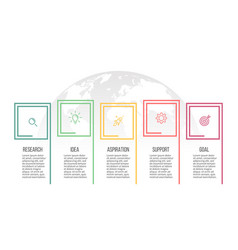 Business infographics presentation with 5 options vector