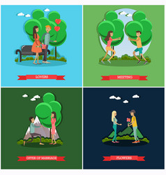 Set of love posters in flat style vector