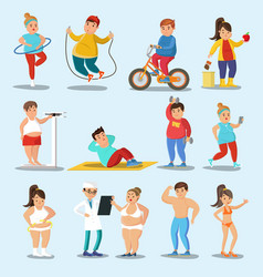 Weight loss characters set vector