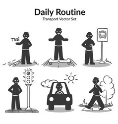 Street transport activities set vector