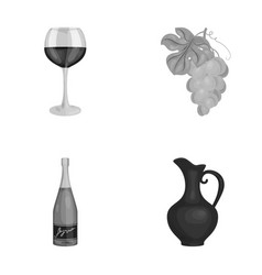 A glass of red wine champagne a jug of wine a vector