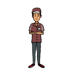 Man in uniform of delivery worker standing vector