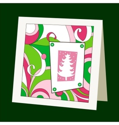 Card with pattern and christmas tree vector