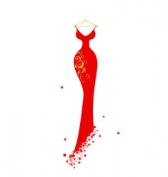 Evening dress red on hangers vector