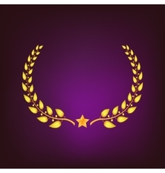 Golden laurel wreath with star vector