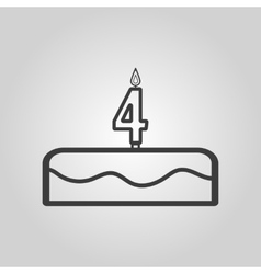 Cake with candles in the form of number 4 icon vector