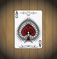 Ace of spades poker cards wood background vector